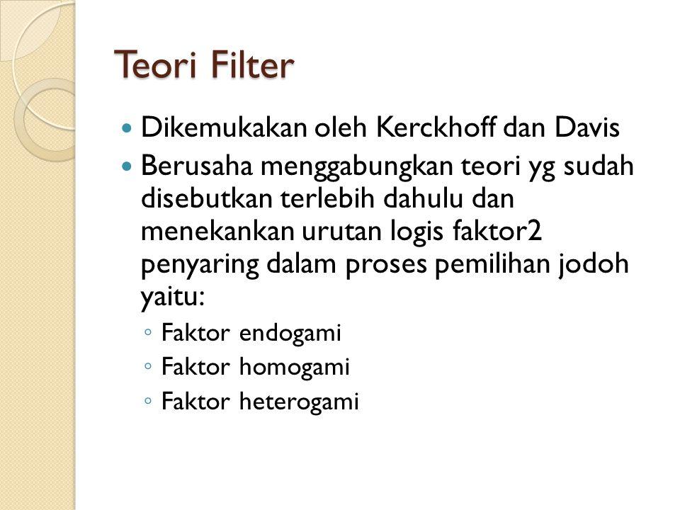 Teori Filter Dikemukakan oleh Kerckhoff dan Davis