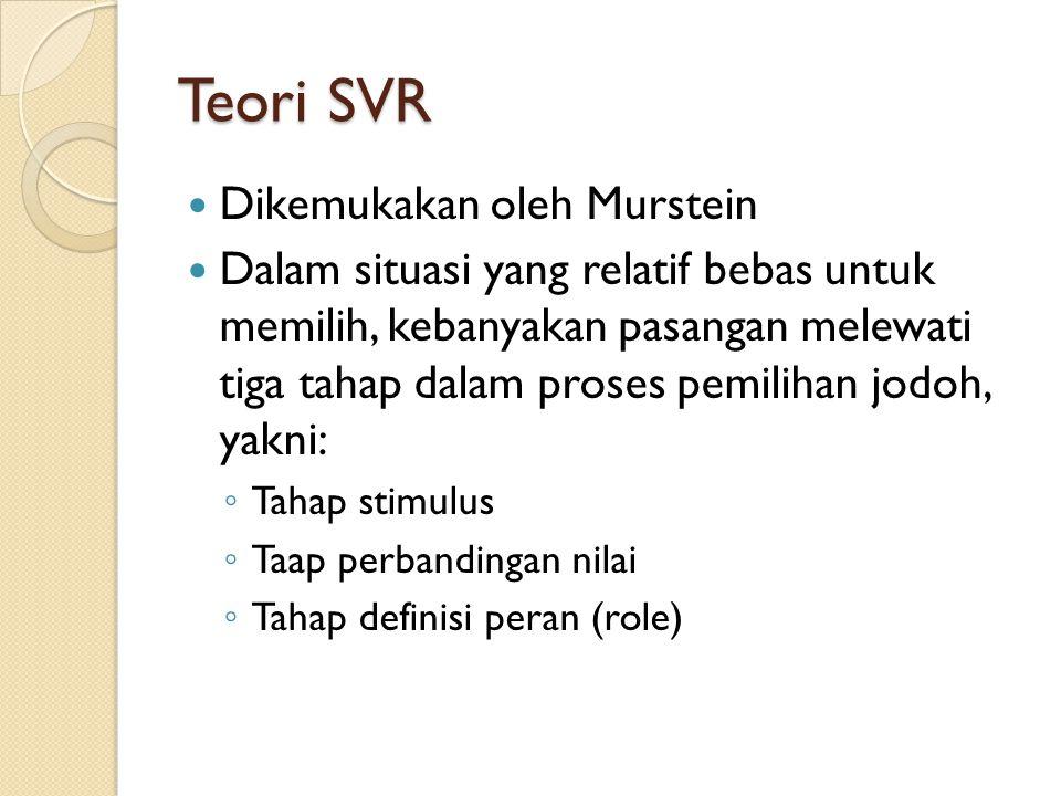 Teori SVR Dikemukakan oleh Murstein