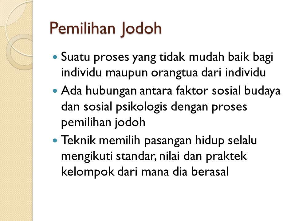 Pemilihan Jodoh Suatu proses yang tidak mudah baik bagi individu maupun orangtua dari individu.