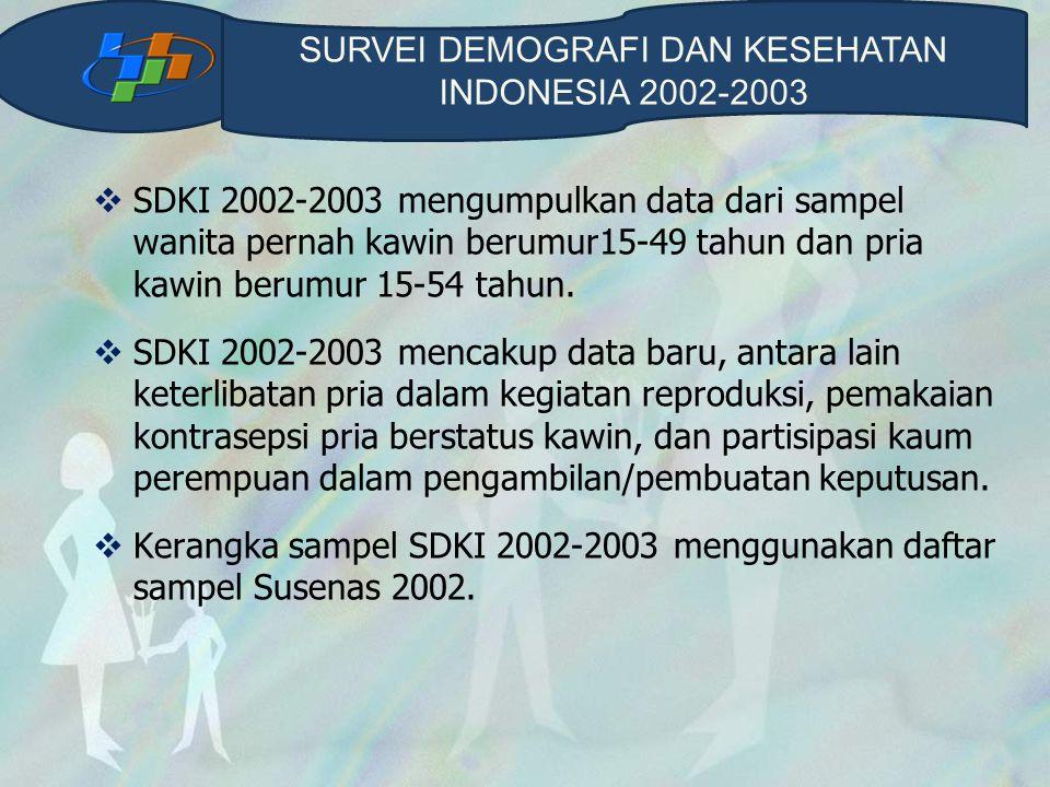 SURVEI DEMOGRAFI DAN KESEHATAN INDONESIA 2002-2003