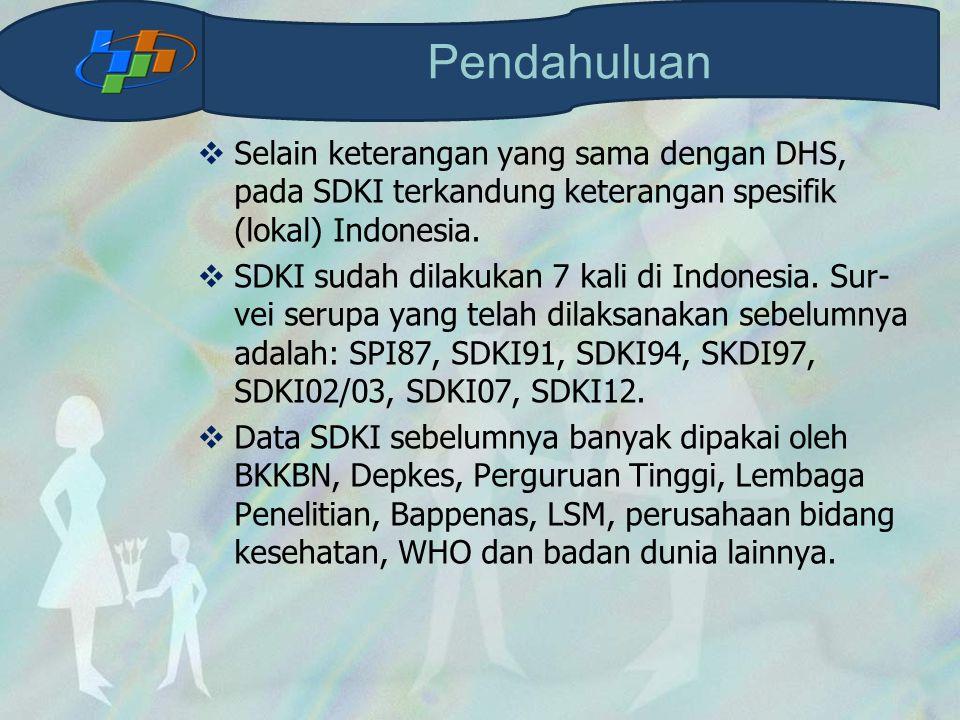 Pendahuluan Selain keterangan yang sama dengan DHS, pada SDKI terkandung keterangan spesifik (lokal) Indonesia.