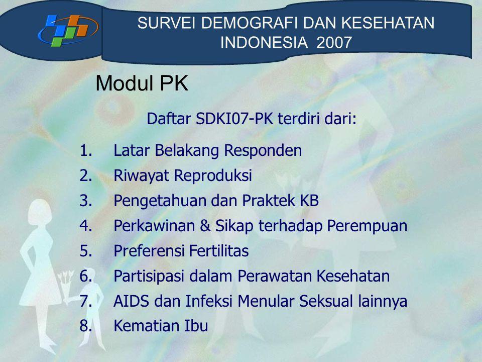 Modul PK SURVEI DEMOGRAFI DAN KESEHATAN INDONESIA 2007