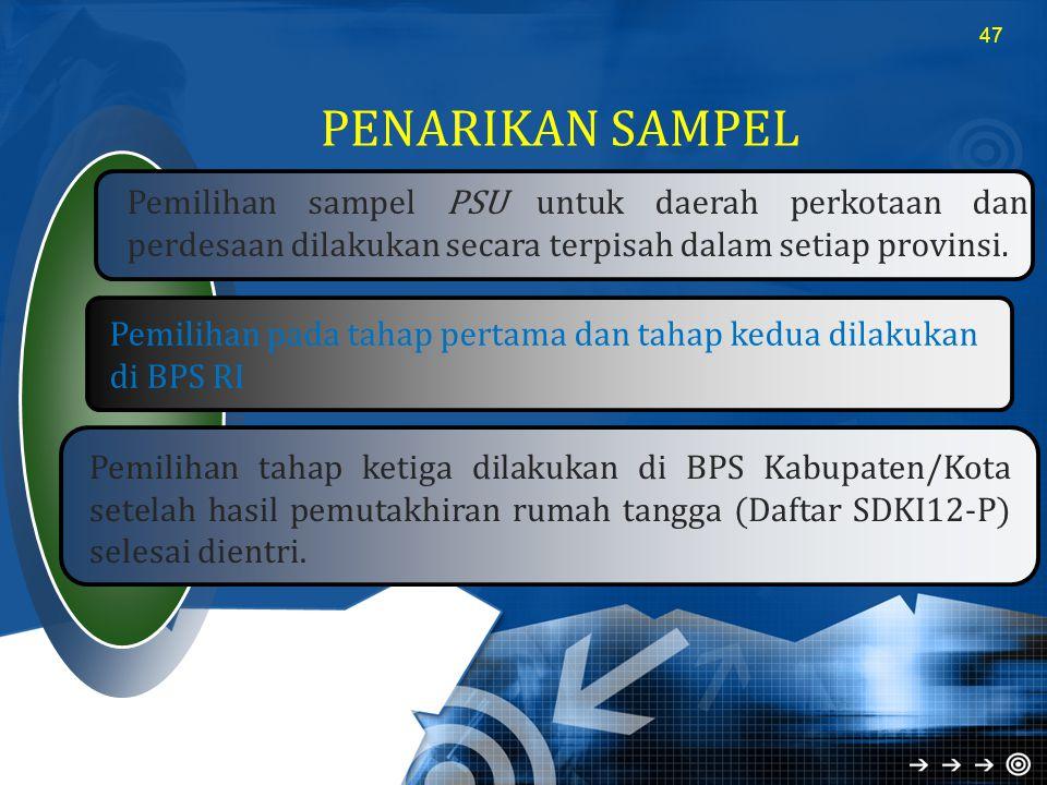 PENARIKAN SAMPEL Pemilihan sampel PSU untuk daerah perkotaan dan perdesaan dilakukan secara terpisah dalam setiap provinsi.