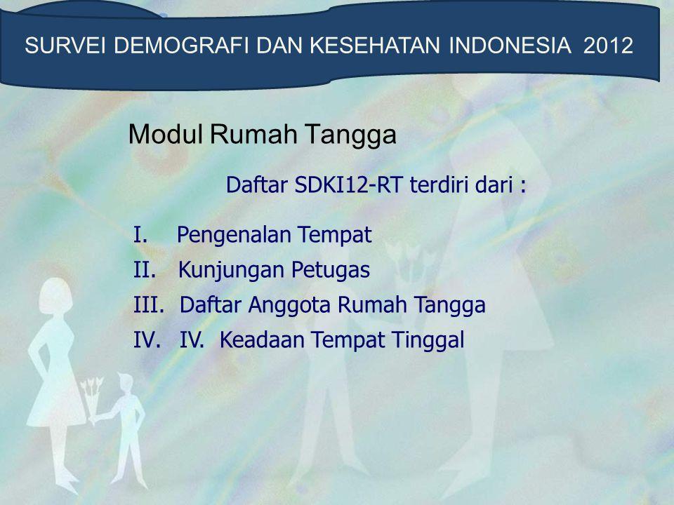 Modul Rumah Tangga SURVEI DEMOGRAFI DAN KESEHATAN INDONESIA 2012