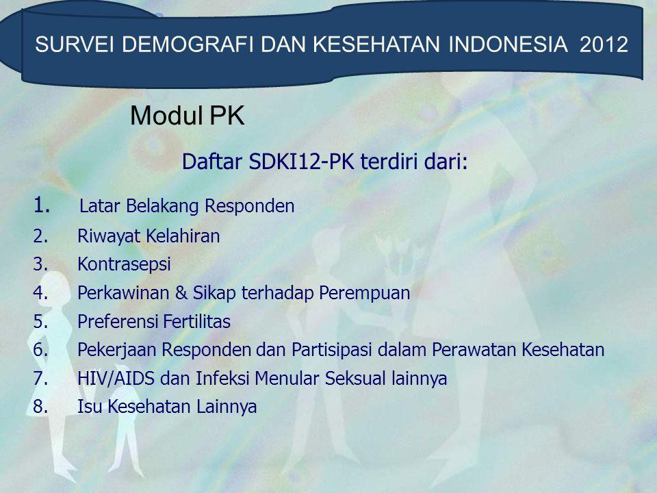 Modul PK SURVEI DEMOGRAFI DAN KESEHATAN INDONESIA 2012