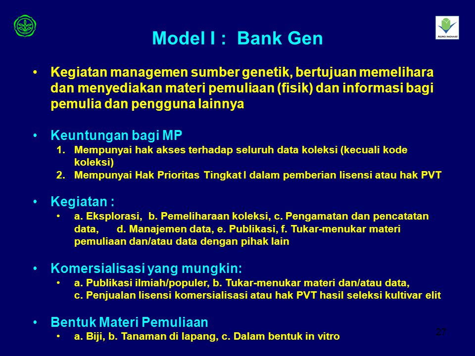 Model I : Bank Gen