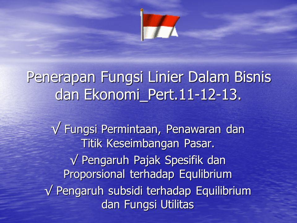 Penerapan Fungsi Linier Dalam Bisnis dan Ekonomi_Pert.11-12-13.