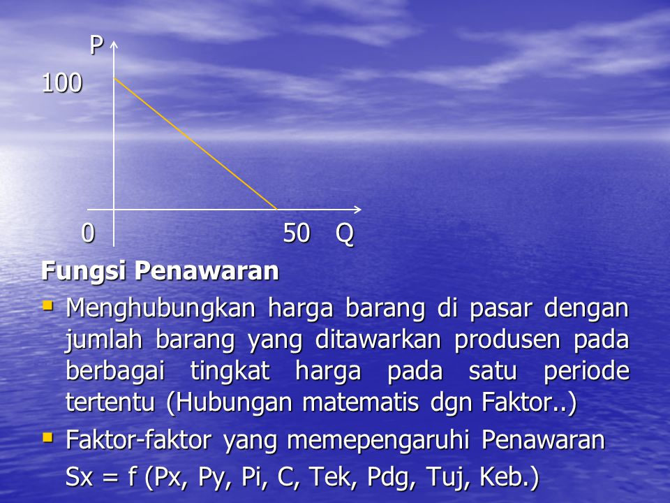 P 100. 0 50 Q. Fungsi Penawaran.