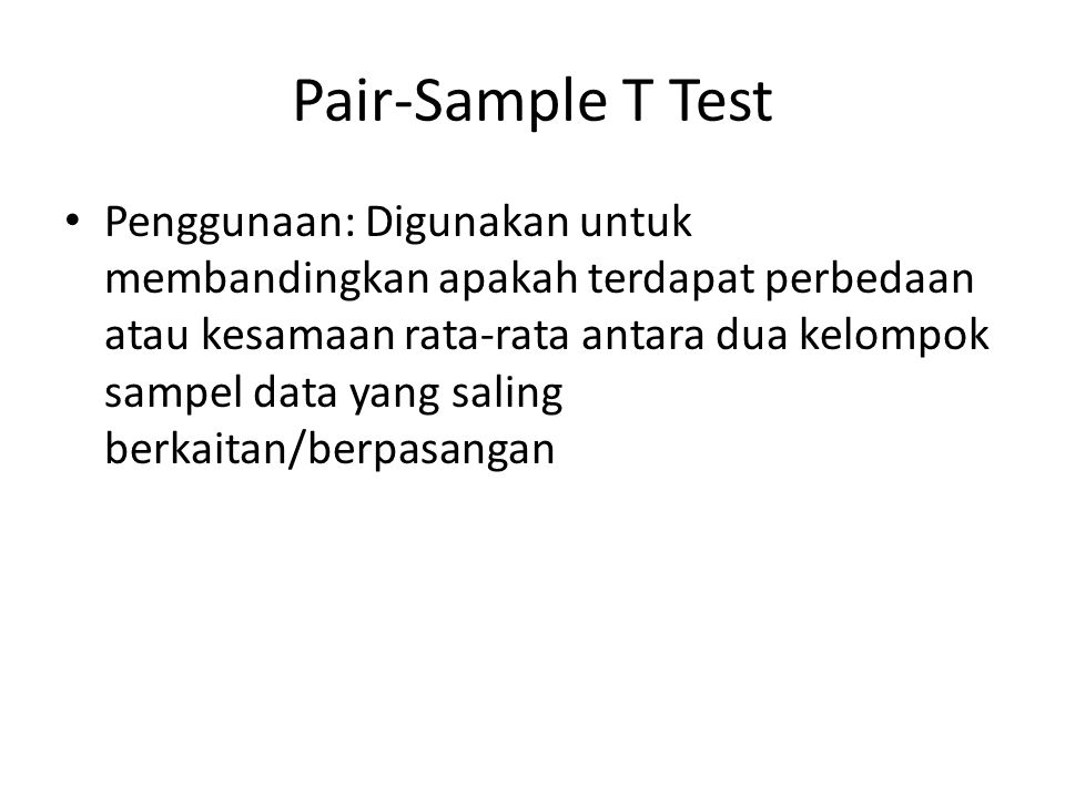 Pair-Sample T Test