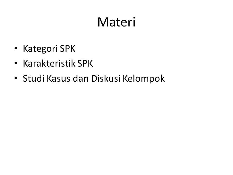 Materi Kategori SPK Karakteristik SPK Studi Kasus dan Diskusi Kelompok