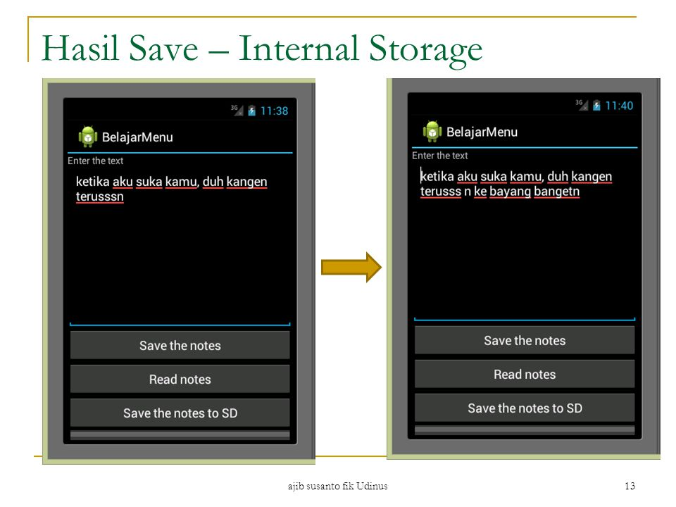 Hasil Save – Internal Storage