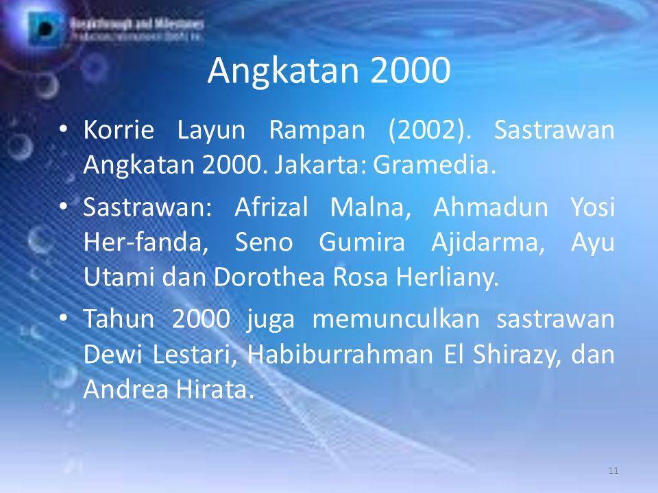 Angkatan 2000 Korrie Layun Rampan (2002). Sastrawan Angkatan 2000. Jakarta: Gramedia.