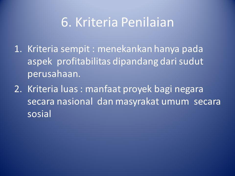 6. Kriteria Penilaian Kriteria sempit : menekankan hanya pada aspek profitabilitas dipandang dari sudut perusahaan.