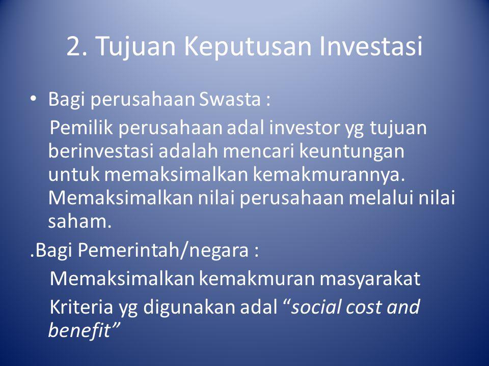 2. Tujuan Keputusan Investasi