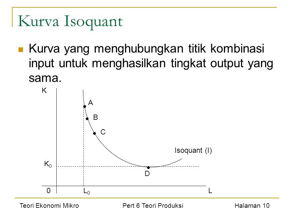 Kurva Isoquant Kurva yang menghubungkan titik kombinasi input untuk menghasilkan tingkat output yang sama.