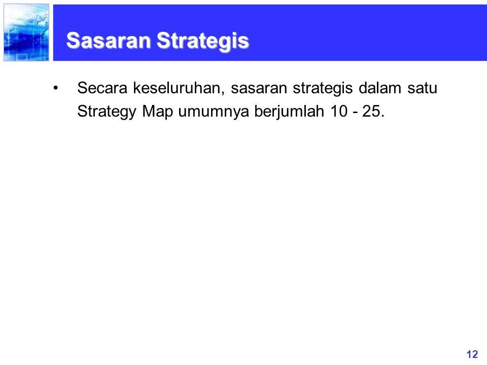 Sasaran Strategis Secara keseluruhan, sasaran strategis dalam satu Strategy Map umumnya berjumlah 10 - 25.