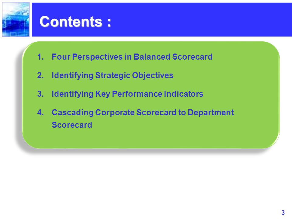 Contents : Four Perspectives in Balanced Scorecard