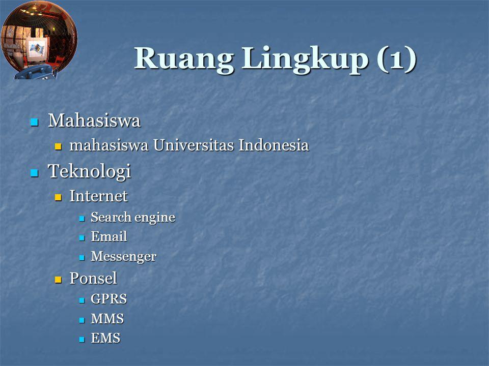 Ruang Lingkup (1) Mahasiswa Teknologi mahasiswa Universitas Indonesia