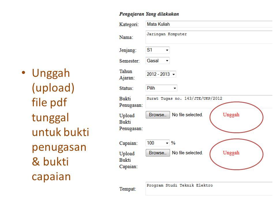 Unggah (upload) file pdf tunggal untuk bukti penugasan & bukti capaian