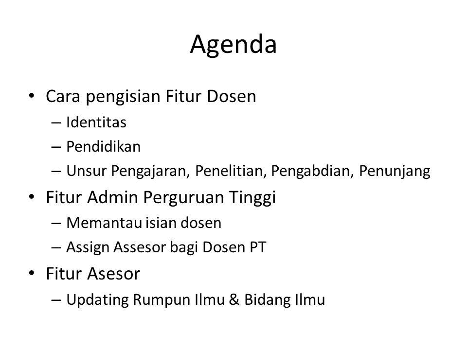 Agenda Cara pengisian Fitur Dosen Fitur Admin Perguruan Tinggi