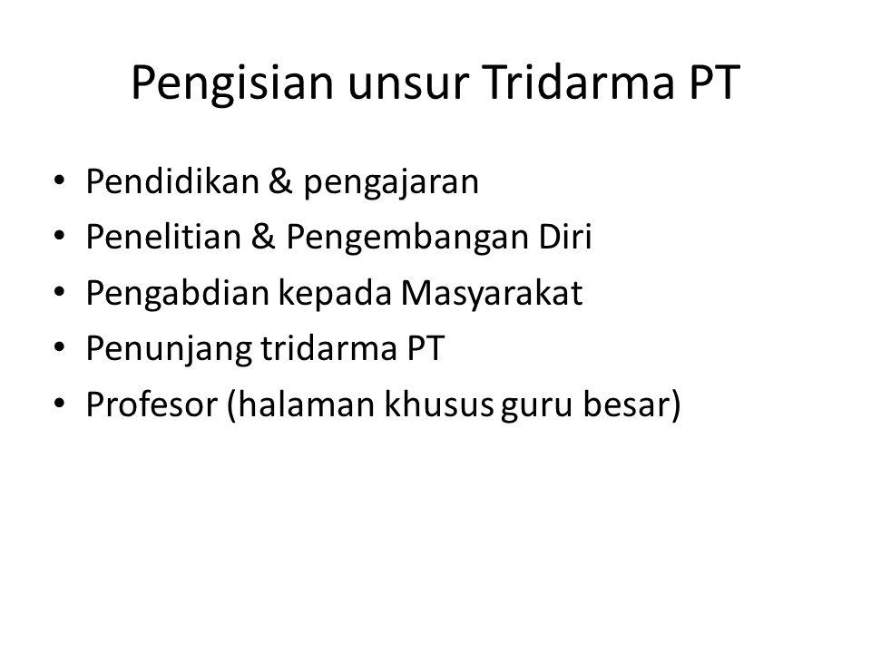 Pengisian unsur Tridarma PT