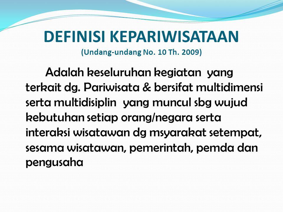 DEFINISI KEPARIWISATAAN (Undang-undang No. 10 Th. 2009)
