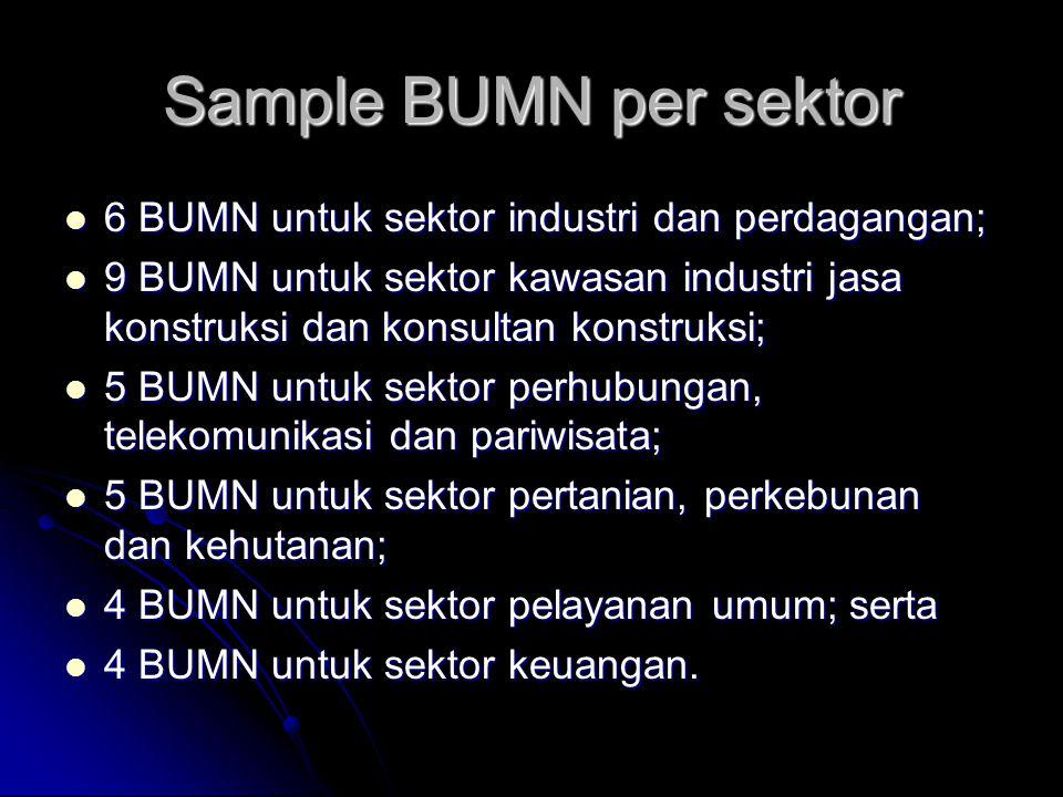 Sample BUMN per sektor 6 BUMN untuk sektor industri dan perdagangan;