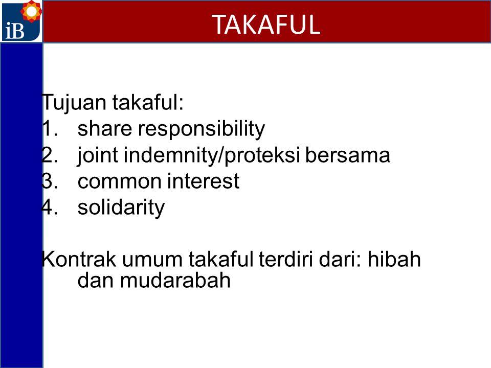 TAKAFUL Tujuan takaful: share responsibility