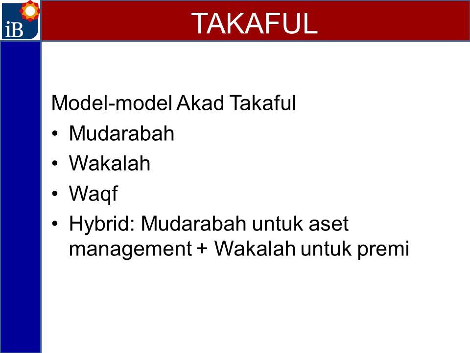 TAKAFUL Model-model Akad Takaful Mudarabah Wakalah Waqf