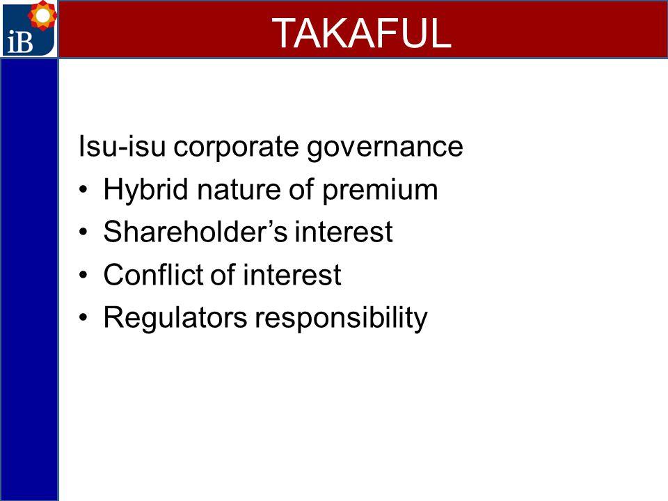 TAKAFUL Isu-isu corporate governance Hybrid nature of premium