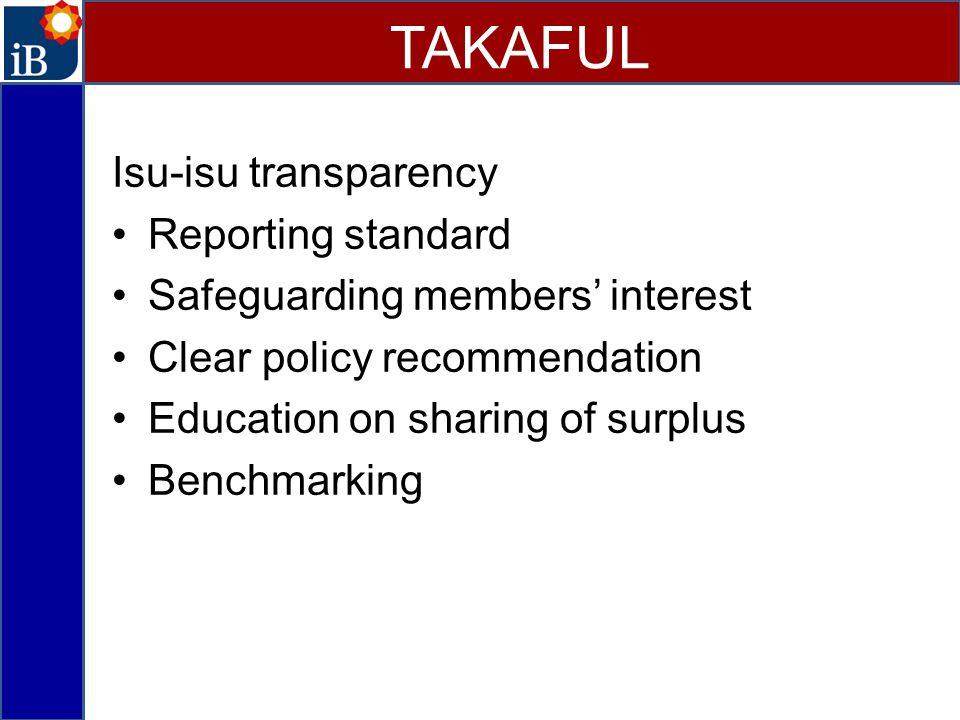 TAKAFUL Isu-isu transparency Reporting standard