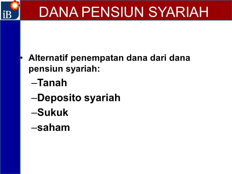 DANA PENSIUN SYARIAH Tanah Deposito syariah Sukuk saham