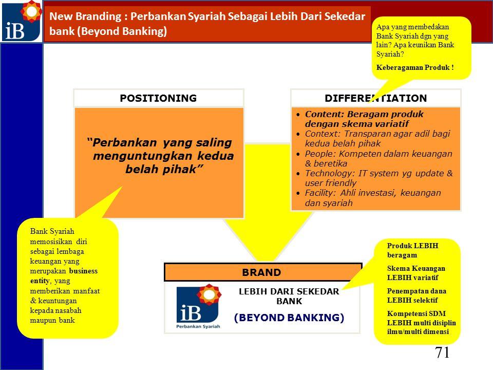 New Branding : Perbankan Syariah Sebagai Lebih Dari Sekedar bank (Beyond Banking)
