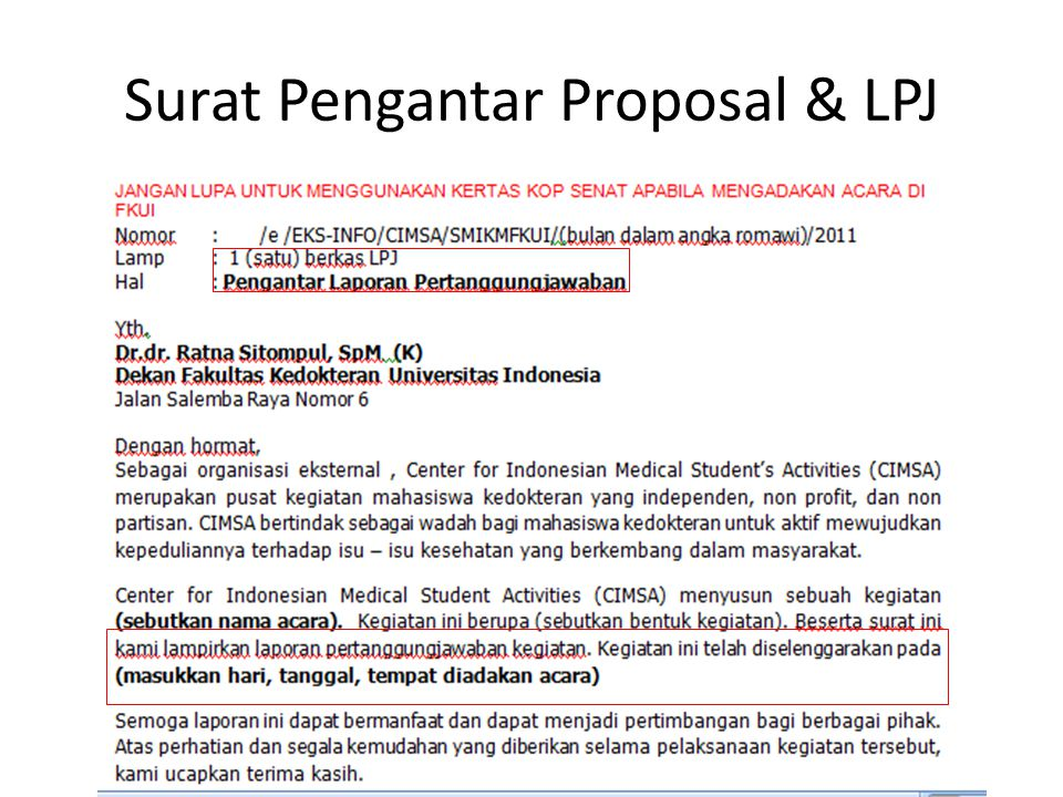 Surat Pengantar Proposal & LPJ