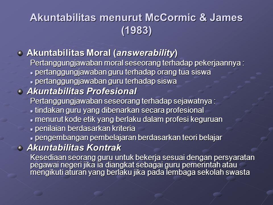 Akuntabilitas menurut McCormic & James (1983)