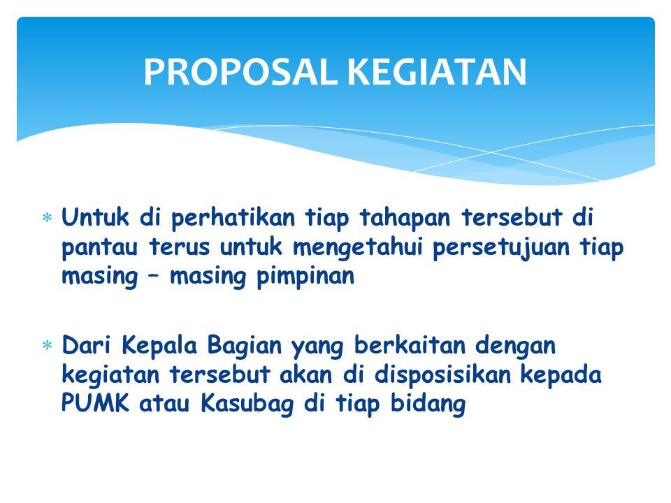 PROPOSAL KEGIATAN Untuk di perhatikan tiap tahapan tersebut di pantau terus untuk mengetahui persetujuan tiap masing – masing pimpinan.