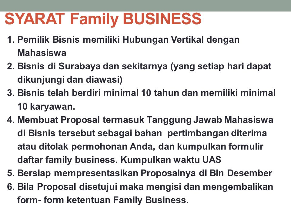 SYARAT Family BUSINESS