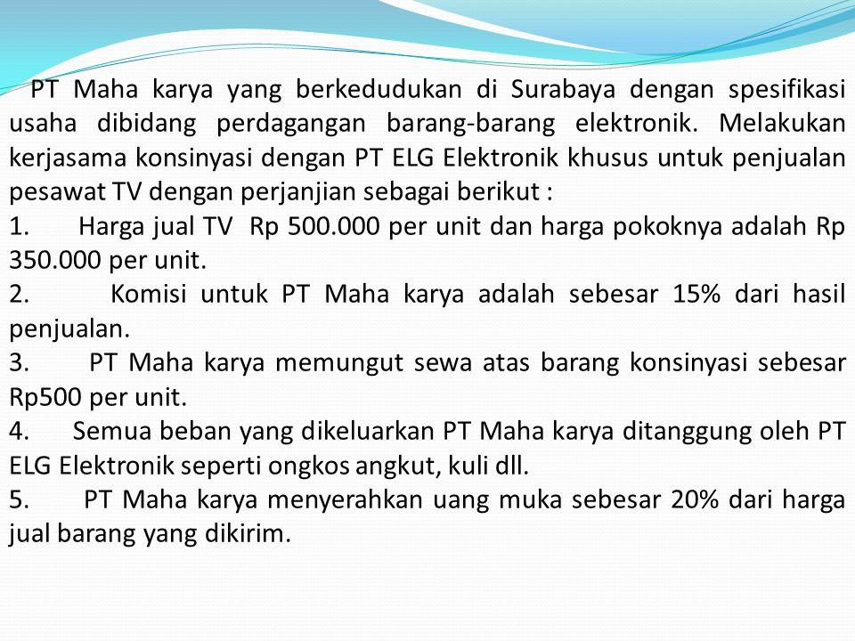 PT Maha karya yang berkedudukan di Surabaya dengan spesifikasi usaha dibidang perdagangan barang-barang elektronik. Melakukan kerjasama konsinyasi dengan PT ELG Elektronik khusus untuk penjualan pesawat TV dengan perjanjian sebagai berikut :