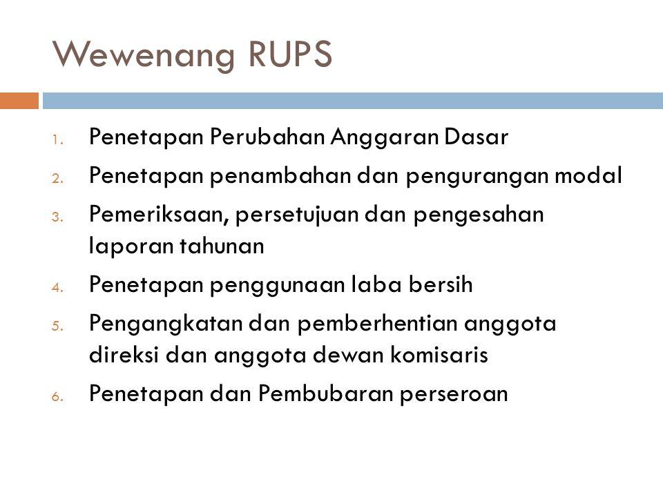 Wewenang RUPS Penetapan Perubahan Anggaran Dasar