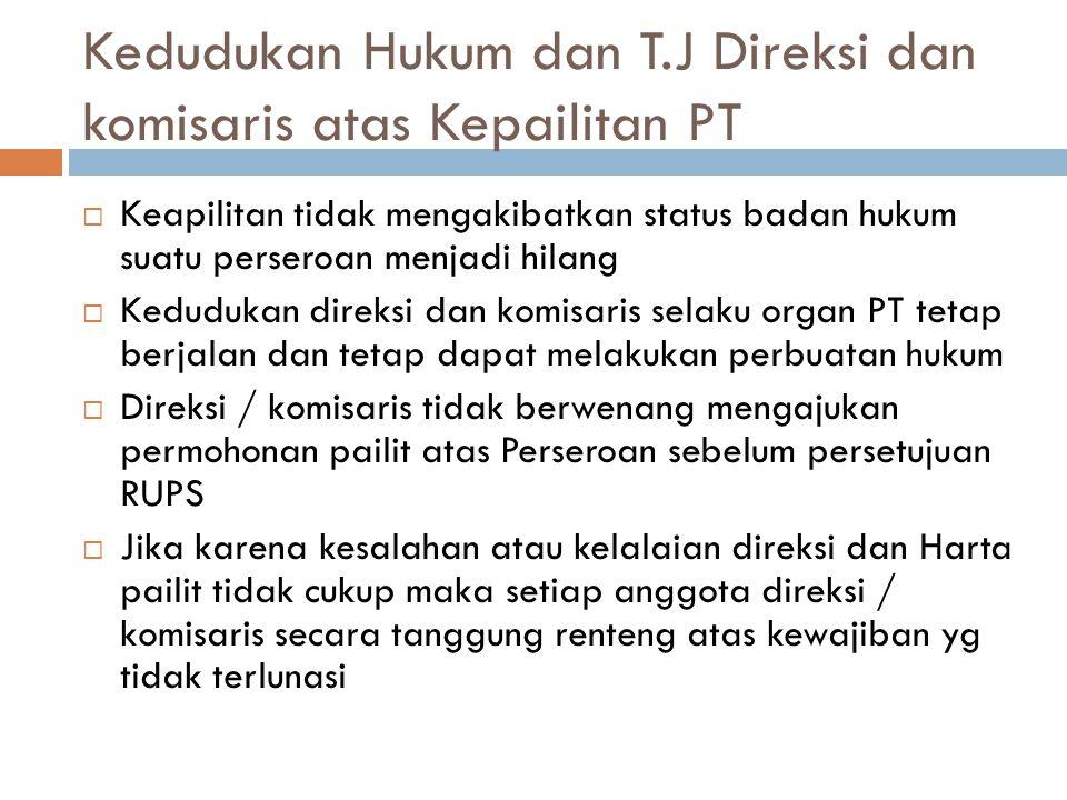 Kedudukan Hukum dan T.J Direksi dan komisaris atas Kepailitan PT
