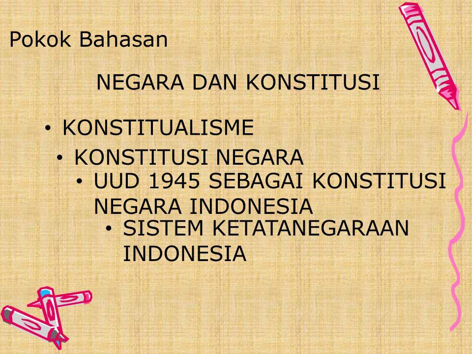 Pokok Bahasan NEGARA DAN KONSTITUSI. KONSTITUALISME. KONSTITUSI NEGARA. UUD 1945 SEBAGAI KONSTITUSI NEGARA INDONESIA.