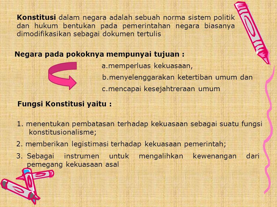 Konstitusi dalam negara adalah sebuah norma sistem politik dan hukum bentukan pada pemerintahan negara biasanya dimodifikasikan sebagai dokumen tertulis