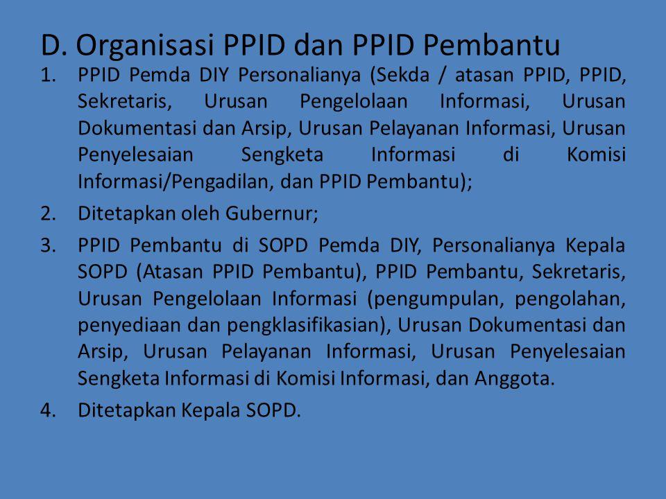 D. Organisasi PPID dan PPID Pembantu
