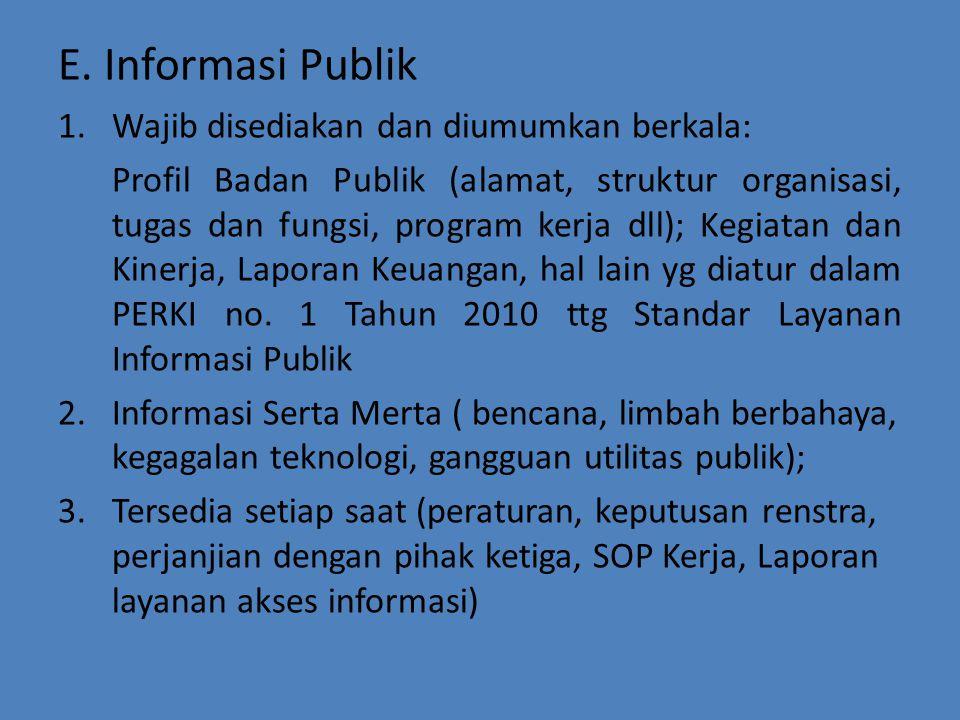 E. Informasi Publik Wajib disediakan dan diumumkan berkala: