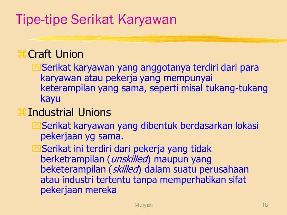 Tipe-tipe Serikat Karyawan