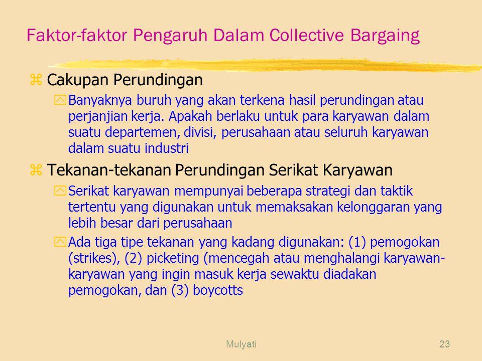 Faktor-faktor Pengaruh Dalam Collective Bargaing