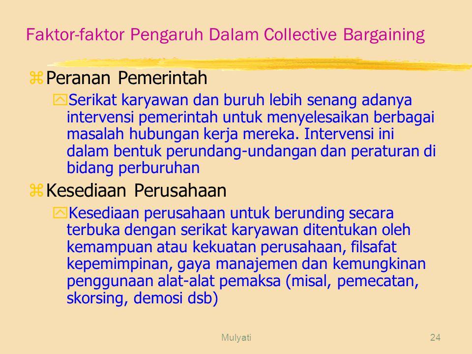 Faktor-faktor Pengaruh Dalam Collective Bargaining