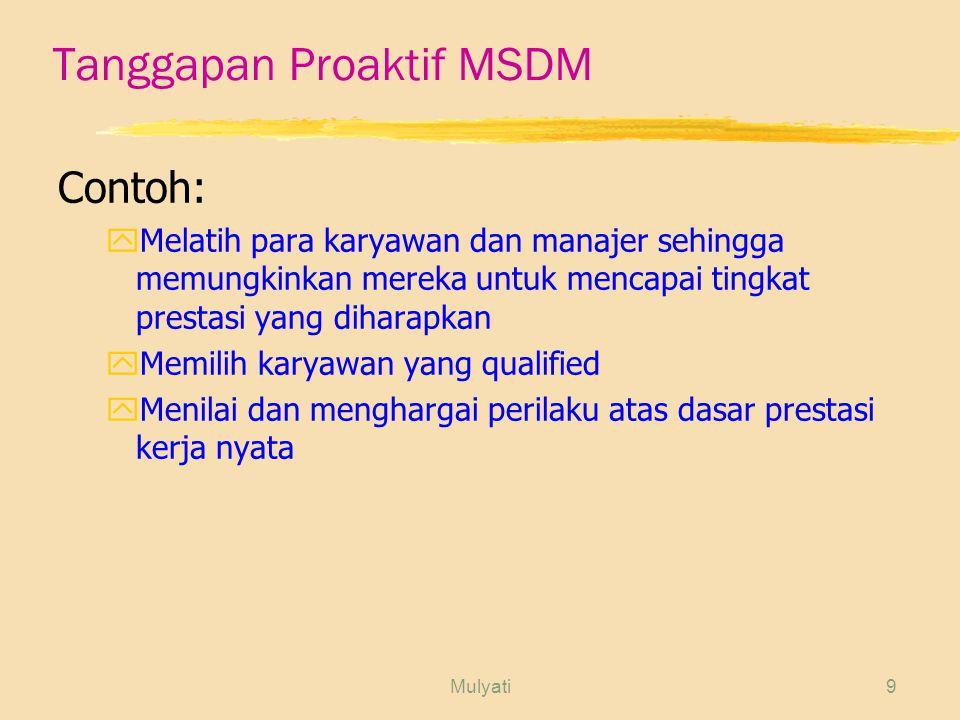 Tanggapan Proaktif MSDM