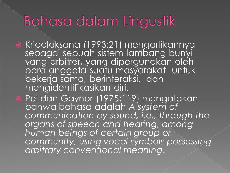 Bahasa dalam Lingustik