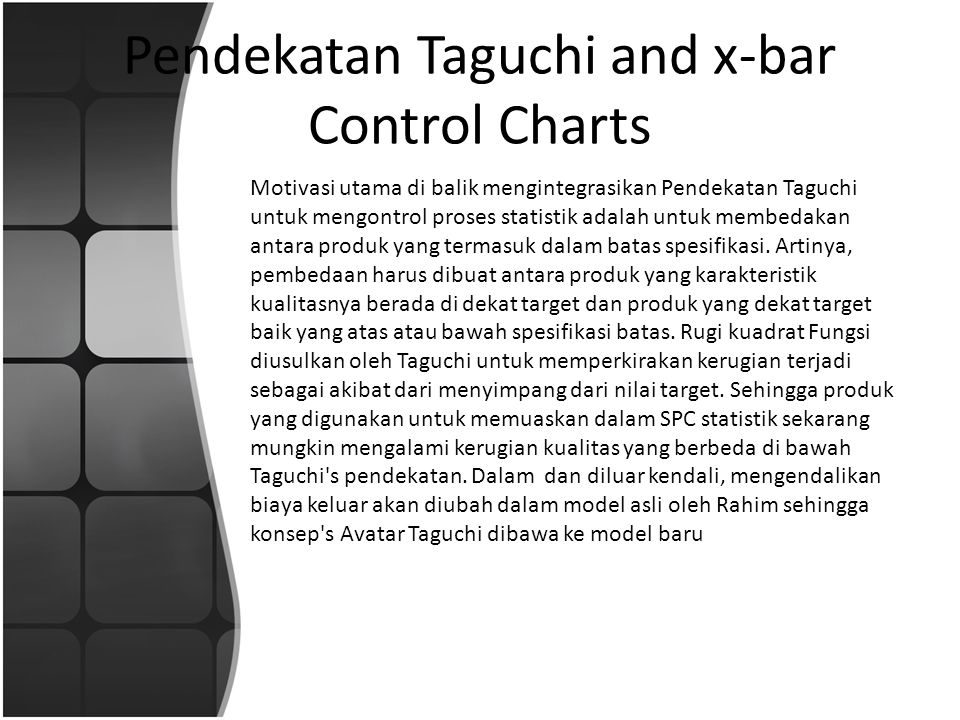 Pendekatan Taguchi and x-bar Control Charts